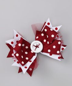 Look what I found on #zulily! Maroon & White Polka Dot Bow by Payton Grace Bows #zulilyfinds
