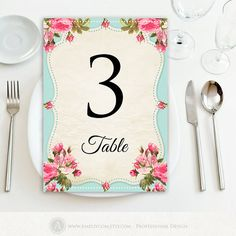 """Printable Table Numbers Cards 5"""" x 7"""" Wedding INSTANT DOWNLOAD - Editable DIY for Print at Home. Teal & Pink Retro Table Numbers 1 - 20"""