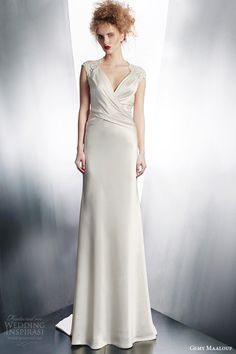 gemy maalouf wedding dresses 2015 bridal gown with lace cap sleeves draped bodice style 4126