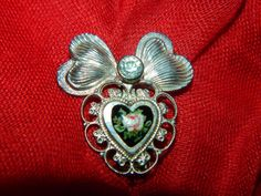 1960's Jane Bolles Heart Brooch Pendant Enamel by TheIDconnection