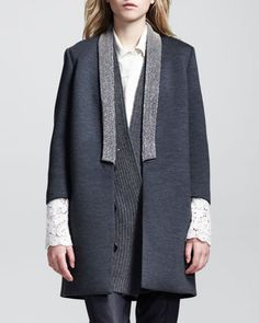 Coated Monili-Collar Long Jacket by Brunello Cucinelli at Neiman Marcus.