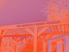 A neon glow has been added to this photographic image of a sign for the Kentucky Derby Museum over a walkway nearby the museum. Find this image and more for sale at marian-bell.pixels.com marian-bell.fineartamerica.com More items available at zazzle.com/marianbellbellaspix*