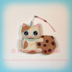 Handstitched Felt Cat & Chocolate Chip Cookie by AmaiAmaiSeptember, $55.00