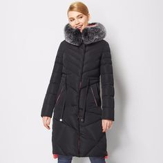 Hooded Fox Fur Winter Warm Down Parka Coat Jacket