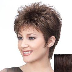 Graceful Short Haircut Capless Stylish Side Bang Fluffy Straight Human Hair Wig For Women