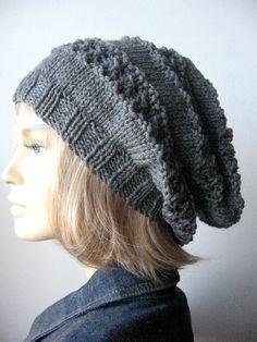 Lace Striped Slouchy Hat Vegan Knit Hat Womens by KnitsByNat
