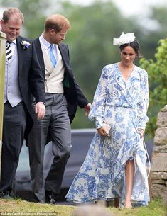 The Duke and Duchess of Sussex at the wedding of Celia McCorquodale yesterday