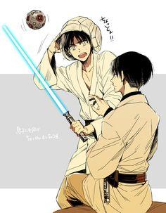 Padawan!Eren, and Jedi!Levi.