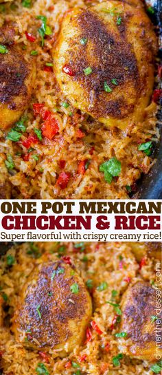 One Pot Mexican Chicken and Rice made with chicken thighs and seasoned Mexican rice with vegetables baked until tender in the oven.