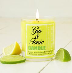 Gin & Tonic Scented Candle. Yellow. Lemon by HearthandHeritage