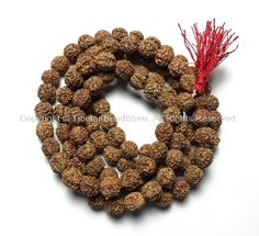 108 beads - 10mm Natural Rudraksha Seed Beads - Nepalese Tibetan Rudraksha Seed Prayer Mala Beads - Japa Mala - Mala Making Supplies - PB90