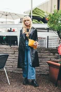 Fanny Ekstrand at Way out west festival in vinyl patent coat