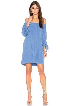maven west Off Shoulder Knot Dress in Blue