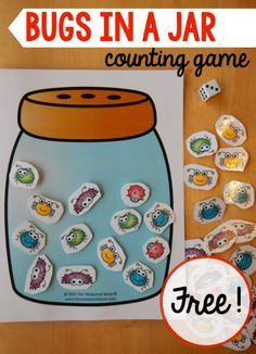 bugs in a jar counting game for preschool #Printable #Homeschool