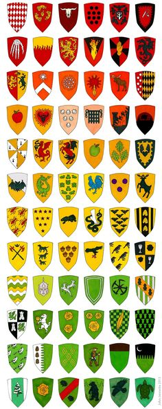 A Game of Clothes — 206 different sigils of Westeros! Game Of Thrones Houses, Game Of Thrones Fans, Medieval, Winter Is Here, Winter Is Coming, Knights Templar History, Norman, Shield Design, Picts