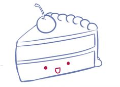 Drawing a Kawaii Cute Cake Slice