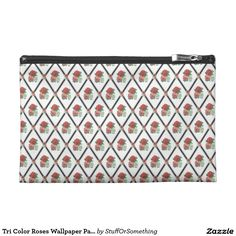 Tri Color Roses Wallpaper Pattern Travel Accessory Bag