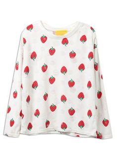 Shop White Sweet Strawberry Print Distressed Rip Detail Sweatshirt from choies.com .Free shipping Worldwide.$13.99