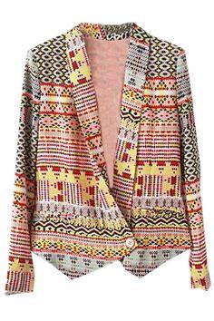 Aztec Asymmetric Shawl Collar Blazer