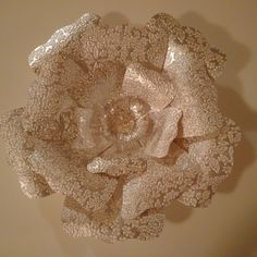 Large paper wall flower made with indian paper.  Great for wedding, events, or home decor.