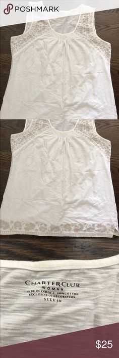 Charter Club Women's Top Off white with tan embroidery at shoulders and bottom hem.  Size 1X. Excellent condition Charter Club Tops Tank Tops
