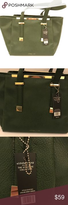 ARMY GREEN OLIVA  + JOY SHOULDER BAG BNWT!❤️ Absolutely beautiful army green OLIVIA + JOY should bag.... BRAND NEW WITH TAGS!  $98 retail Olivia + Joy Bags Satchels