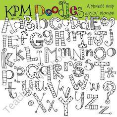 KPM-Alphabet Suppe digitale schwarze Linie ClipArt - My list of best Diy and Crafts Doodle Alphabet, Hand Lettering Alphabet, Alphabet Stamps, Alphabet Soup, Fun Fonts Alphabet, Bubble Letter Fonts, Doodle Art Letters, Doodle Frames, Graffiti Alphabet
