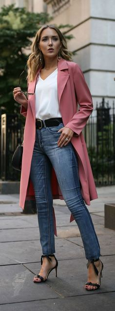 My Favorite Budget-Friendly Denim Destination // Pink trench coat, silk v-neck blouse, blue high waisted jeans, black ankle strap sandals, black embroidered purse {Express, Alexandre Birman, casual Friday, creative office style}