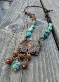 Úr Ogham symbol necklace of copper and beads by solekoru on Etsy