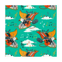 Music is my life  instagram.com/tseihadesign  #music #mylife #seamlesspattern #colorful #surfacedesign #surfacepattern #illustration #illustrationart #drawing #draw #handdrawn #art #artist #artoftheday #birds #sky #musicalinstruments #guitarra
