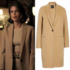 "Cristal Flores wears this Theory ""New Divide"" wool and cashmere coat on Dynasty 1x08"