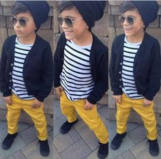 Boys fashion with an urban twist. Definitely on the ups the cool factor with the beanie and the sunglasses