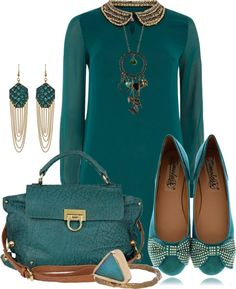 """""""Green beaded Peter Pan dress"""" by tchantx on Polyvore"""