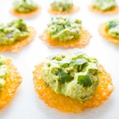 This recipe combines crispy cheddar cheese chips with infamous Chipotle copycat guacamole, for a perfect quick and easy cold appetizer.