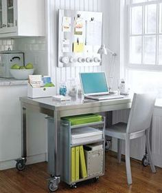 With a small space, the kitchen is a good space for the office.