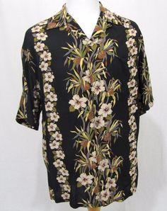 Iolani Hawaiian Shirt Large Black Floral Hibiscus Fern Leaf Coconut Aloha Camp #Iolani #Hawaiian