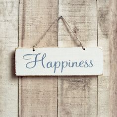 Happiness Rustic Sign With Blue And Cream by UtopiaHomeAndGarden, £10.00