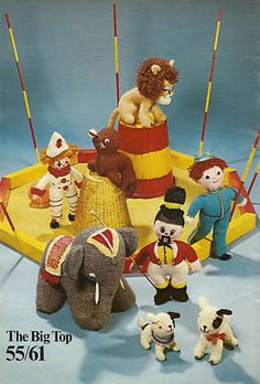 Vintage circus knitting pattern via ebay.   I can't knit whatsoever, but if I could...