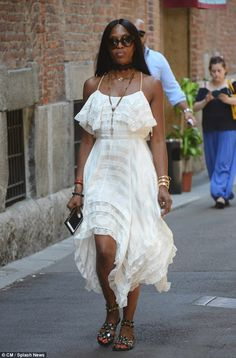 Chic:The 47-year-old supermodel gave the delicate dress a fresh twist thanks to a pair of...
