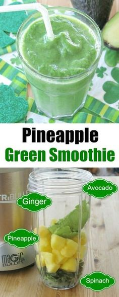 Pineapple green smoothie with avocado, spinach and touch of ginger is healthy and delicious! #smoothie #veganrecipes #healthyrecipes