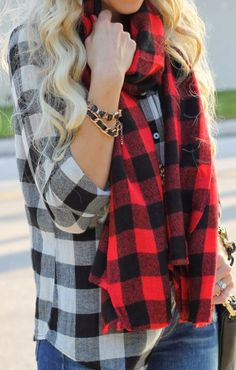 Plaid sleeve shirt and scarf fashion