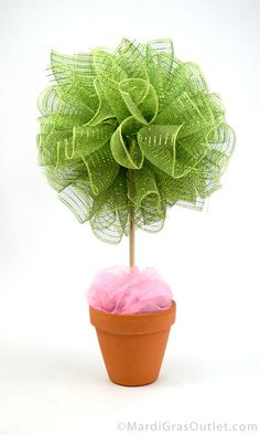 Party Ideas by Mardi Gras Outlet: DIY Party Puffs & Topiary with Deco Mesh