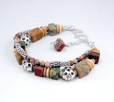 Southwest Bracelet Double Strand Pewter Bracelet by TouchOfSilver