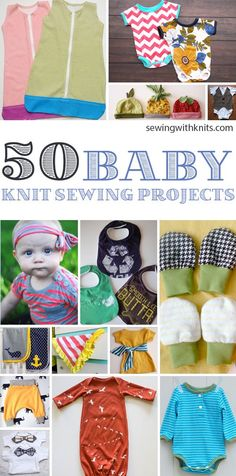There is nothing better than a baby in some cozy knits! Here are our favorite 50 knit sewing projects for all of the babies in your life. Most are great for beginners! Sewing Projects For Kids, Sewing For Beginners Patterns, Sewing Patterns Baby, Beginner Sewing Projects, Sewing For Kids, Sewing Hacks, Baby Sewing Tutorials, Sewing Crafts, Upcycled Crafts