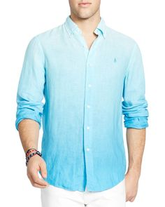 Polo Ralph Lauren Ombré Linen Regular Fit Button-Down Shirt Cool Shirts For  Men, d688ef1aab