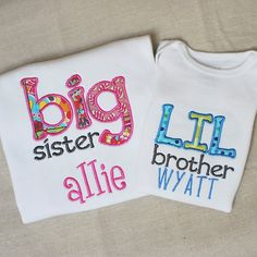 Big Sister  Little Brother Siblings Applique and Embroidered Shirt