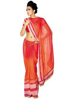 Shaded #Red and #Orange shimmer #georgette #saree embroidered with #Bandhej Print, Stone, Beads and Lace Work.