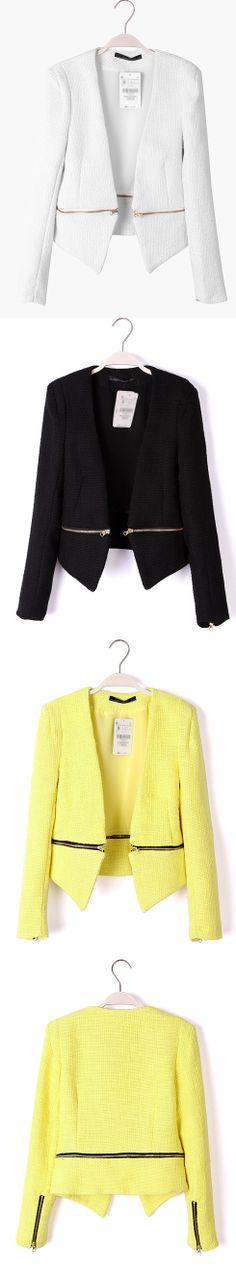 Yellow V Neck Long Sleeve Zipper Embellished Coat$49   http://www.udobuy.com/goods-7019.html#