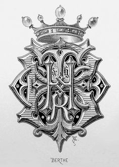 "Monogram ""Berthe"" by Charles Demengeot - 1881 Tattoo Lettering Fonts, Font Art, Lettering Design, Monogram Design, Monogram Fonts, Monogram Letters, Vintage Typography, Typography Letters, Fancy Letters"