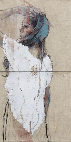 古河原泉 作品:「追っているようで本当は」(2015/11 油彩,木炭,キャンバス)